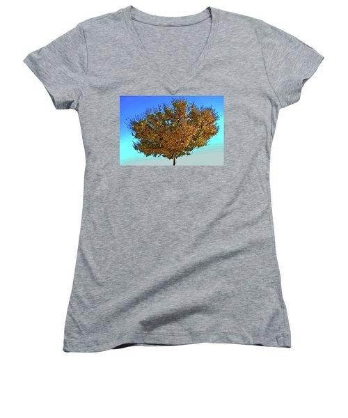 Yellow Tree Blue Sky Women's V-Neck T-Shirt (Junior Cut) by Matt Harang