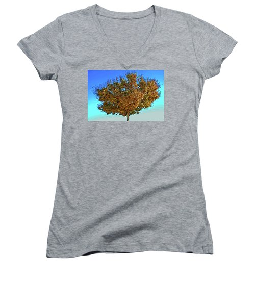 Yellow Tree Blue Sky Women's V-Neck T-Shirt (Junior Cut)