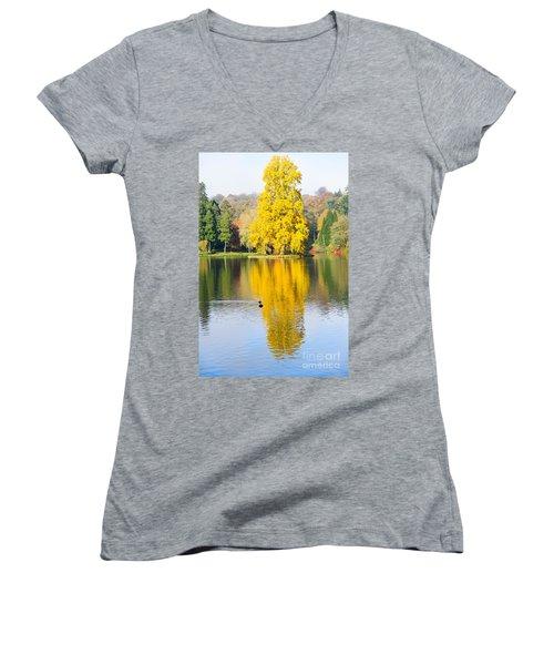 Yellow Tree Reflection Women's V-Neck