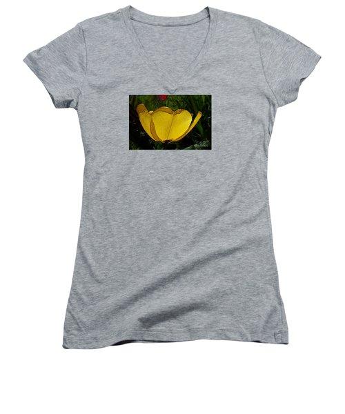 Yellow Tulip 2 Women's V-Neck T-Shirt (Junior Cut) by Jean Bernard Roussilhe