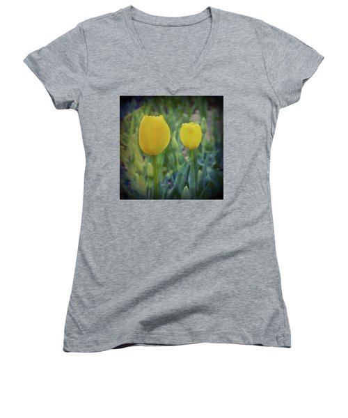Yellow Tulip Art Women's V-Neck (Athletic Fit)