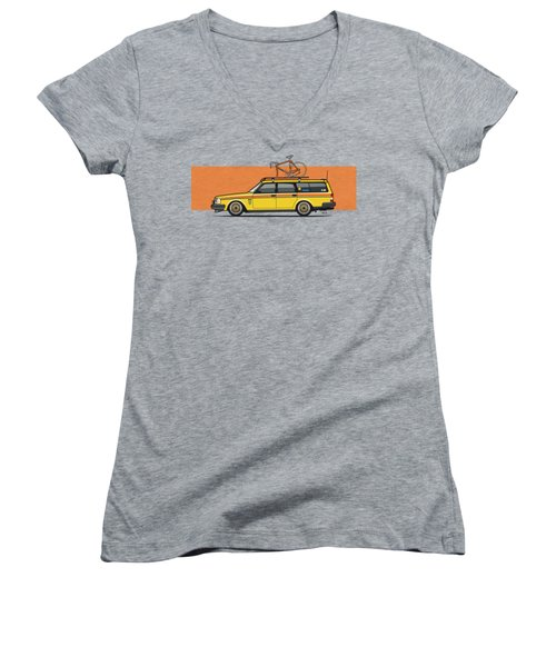 Yellow Volvo 245 Wagon With Roof Rack And Vintage Bicycle Women's V-Neck (Athletic Fit)