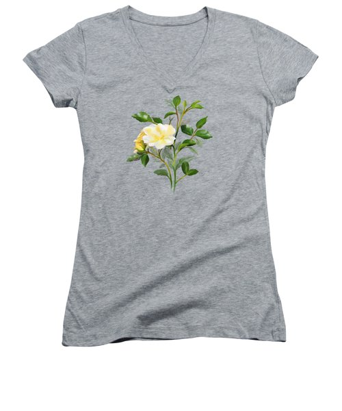 Yellow Watercolor Rose Women's V-Neck