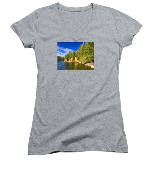 Golden Waters Women's V-Neck T-Shirt (Junior Cut) by Jennifer Lake