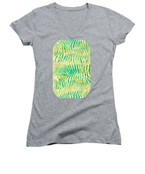 Yellow Zebra Print Women's V-Neck