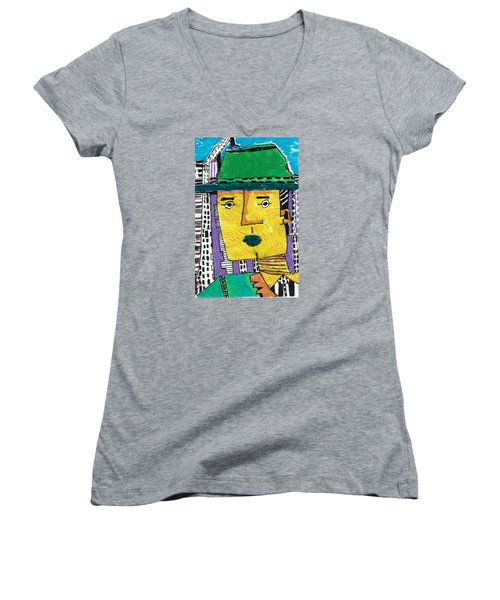 Women's V-Neck T-Shirt (Junior Cut) featuring the tapestry - textile Yellowman by Don Koester