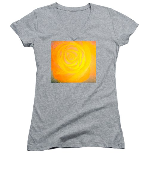 Yelloworange Rose Women's V-Neck T-Shirt (Junior Cut) by Kim Henderson