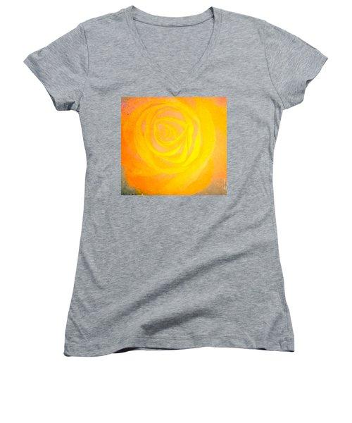 Yelloworange Rose Women's V-Neck T-Shirt