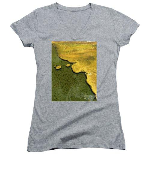 Yellowstone Art. Yellow And Green Women's V-Neck T-Shirt (Junior Cut) by Ausra Huntington nee Paulauskaite