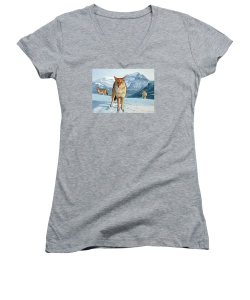 Yellowstone Coyotes Women's V-Neck T-Shirt (Junior Cut) by Paul Krapf