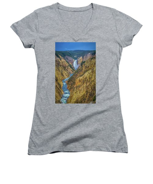 Yellowstone Falls Women's V-Neck (Athletic Fit)