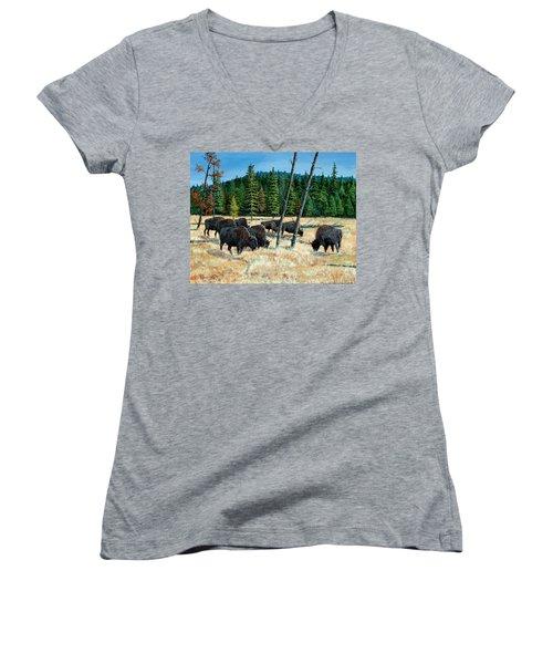 Yellowstone Grazers Women's V-Neck T-Shirt