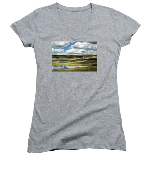 Yellowstone Hayden Valley National Park Wall Decor Women's V-Neck (Athletic Fit)