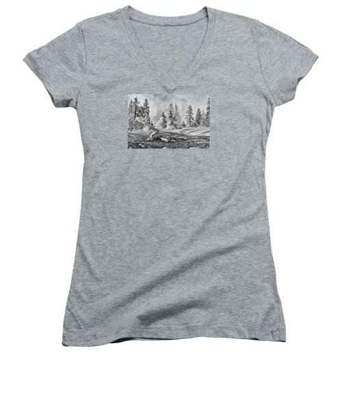 Yellowstone In Winter Women's V-Neck T-Shirt (Junior Cut) by Gary Lengyel