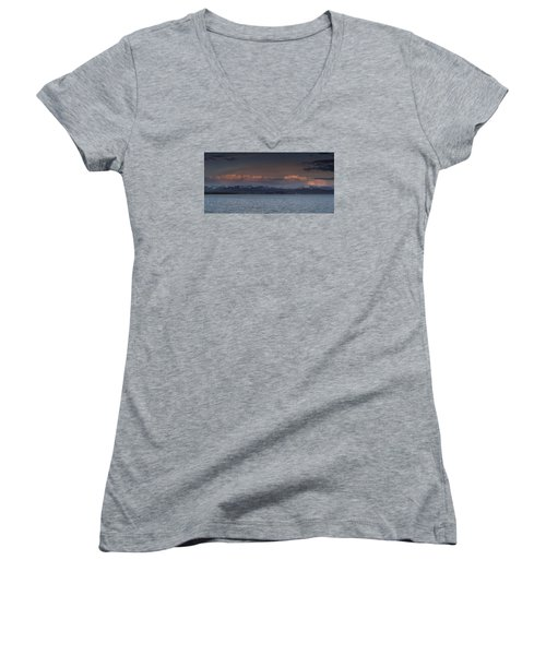 Yellowstone Lake At Sunset Women's V-Neck (Athletic Fit)