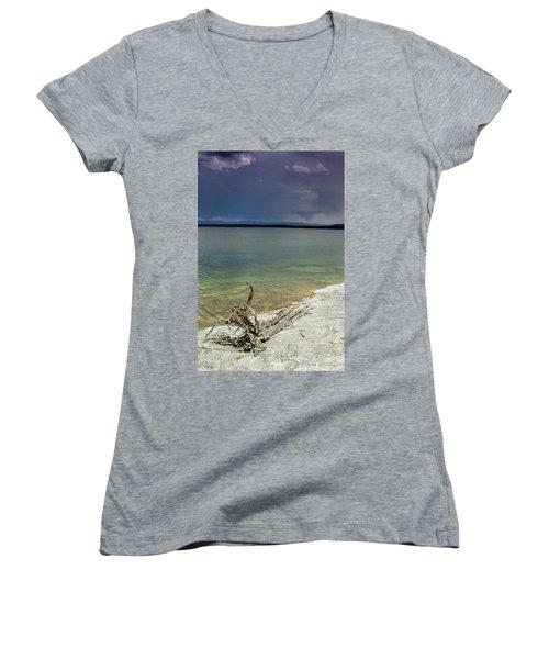 Yellowstone Lake Women's V-Neck T-Shirt (Junior Cut) by Dawn Romine