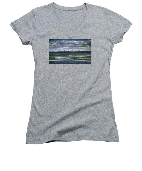 Yellowstone Mountain Scape Women's V-Neck T-Shirt (Junior Cut) by Jason Moynihan