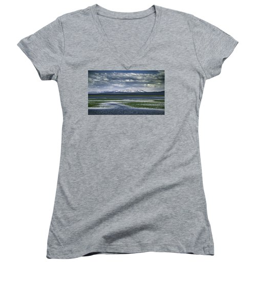 Yellowstone Mountain Scape Women's V-Neck (Athletic Fit)