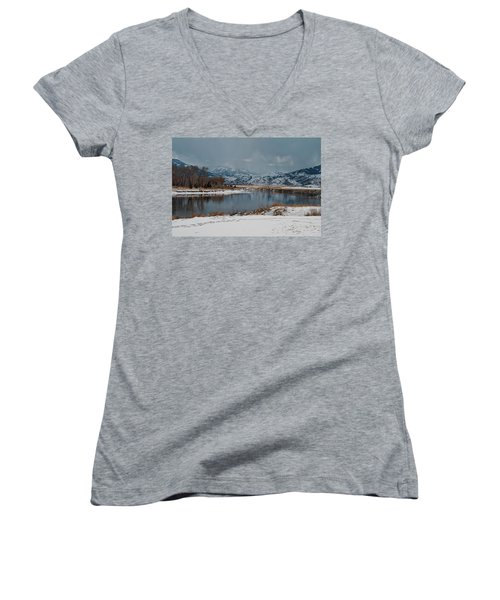 Yellowstone River In Light Snow Women's V-Neck