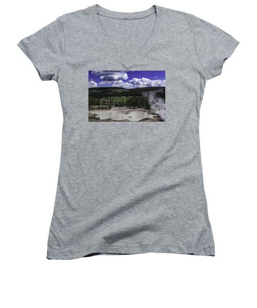 Women's V-Neck T-Shirt (Junior Cut) featuring the photograph Yellowstone Tar Pits by Jason Moynihan