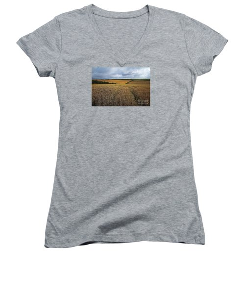 Women's V-Neck T-Shirt (Junior Cut) featuring the photograph Yelow Fields And Fluffy Clouds  by Gary Bridger