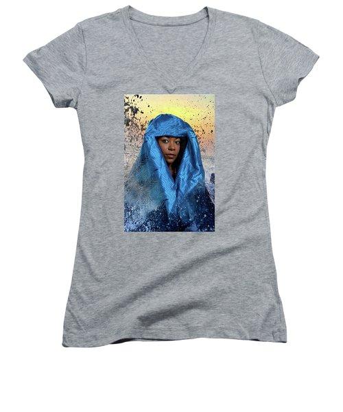 Yemaya Women's V-Neck T-Shirt (Junior Cut) by David Clanton