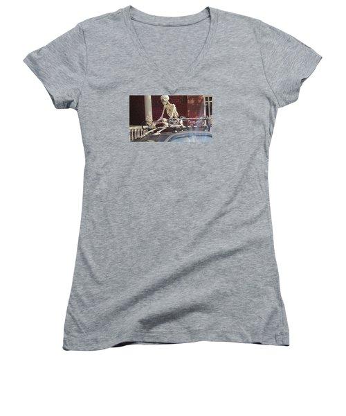 Yes It Is Halloween Women's V-Neck T-Shirt (Junior Cut) by Jeanette Oberholtzer