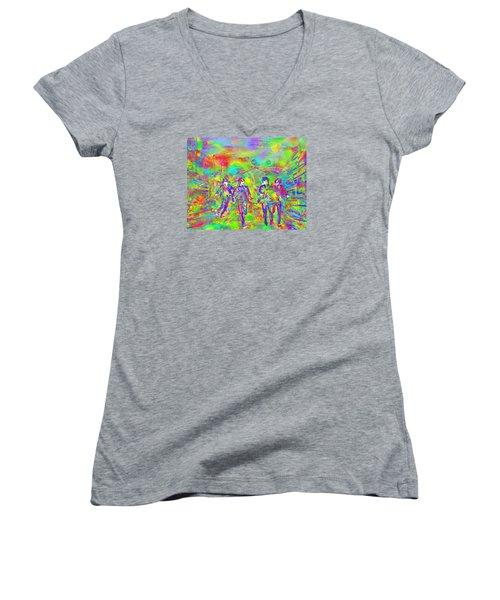 Yesterday Women's V-Neck T-Shirt (Junior Cut) by Dave Luebbert