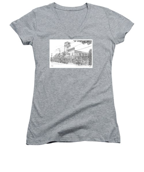 Women's V-Neck T-Shirt (Junior Cut) featuring the drawing Yesterday Today by Doug Kreuger