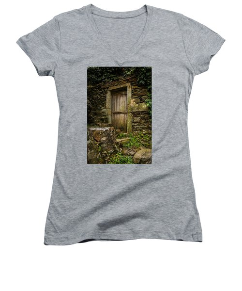Women's V-Neck T-Shirt (Junior Cut) featuring the photograph Yesterday's Garden Door by Kathleen Scanlan