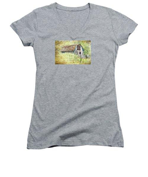 Women's V-Neck T-Shirt (Junior Cut) featuring the photograph Yesteryear Barn by Jean OKeeffe Macro Abundance Art