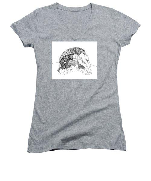 Yoga Sandwich Women's V-Neck T-Shirt (Junior Cut) by Jan Steinle