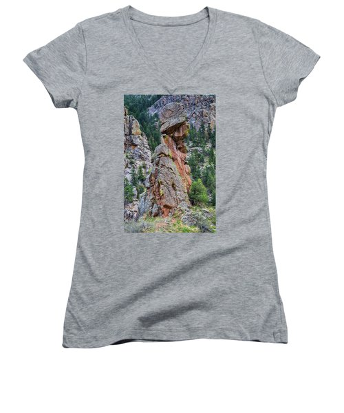 Women's V-Neck T-Shirt (Junior Cut) featuring the photograph Yogi Bear Rock Formation by James BO Insogna