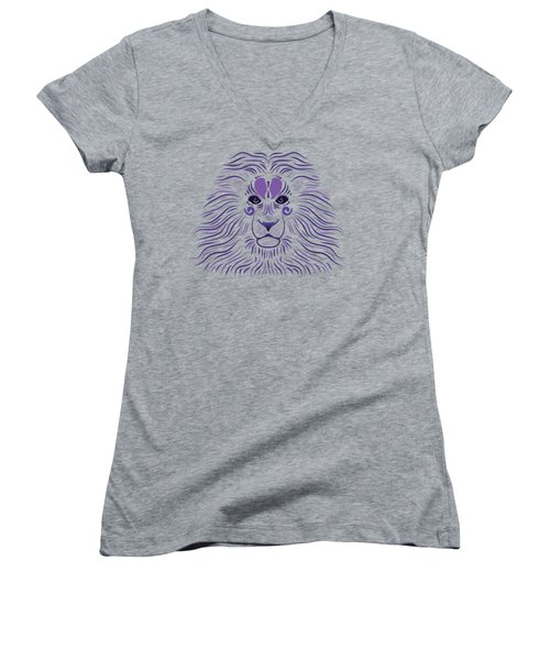 Yoni The Lion - Dark Women's V-Neck T-Shirt (Junior Cut) by Serena King