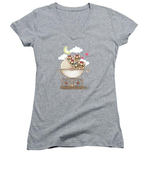 Yorkie Babies Strolling  Women's V-Neck T-Shirt (Junior Cut) by Catia Cho