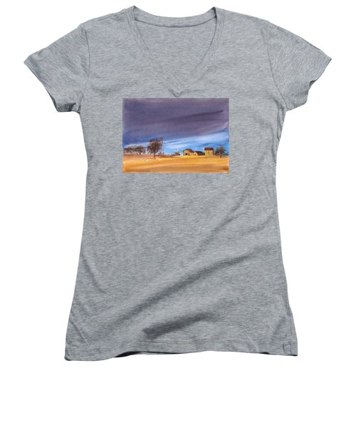 Women's V-Neck featuring the painting Yorkshire Landscape by Asha Sudhaker Shenoy