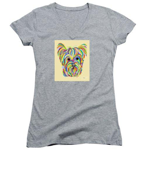 Yorkshire Terrier ... Yorkie Women's V-Neck T-Shirt (Junior Cut) by Eloise Schneider