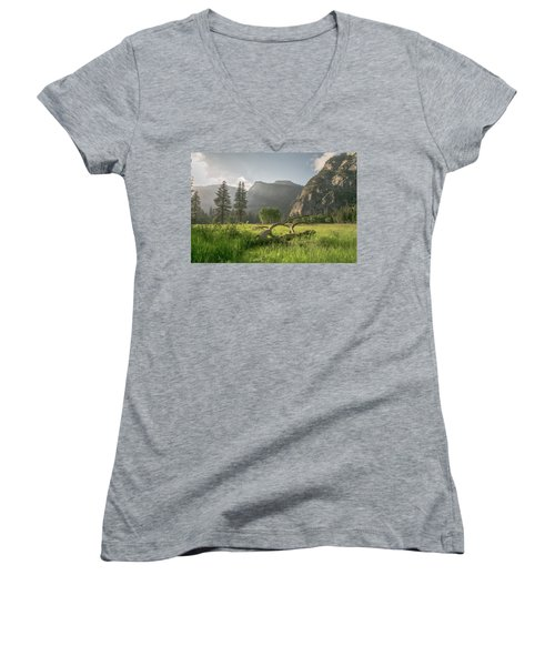 Sundown On The Valley Women's V-Neck T-Shirt (Junior Cut) by Ryan Weddle