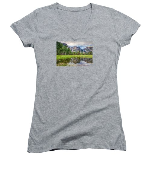 Yosemite Falls And Reflections 2 Women's V-Neck T-Shirt