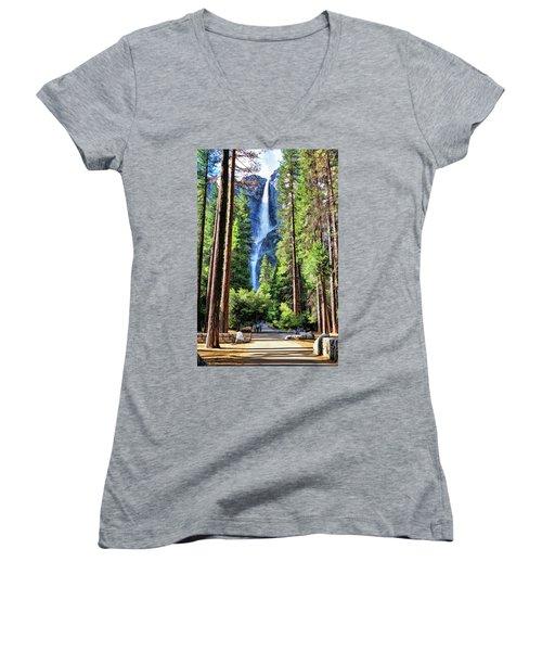 Yosemite National Park Bridalveil Fall Trees Women's V-Neck (Athletic Fit)
