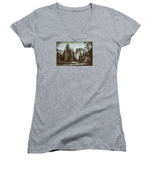Yosemite National Park Women's V-Neck T-Shirt (Junior Cut) by James Bethanis