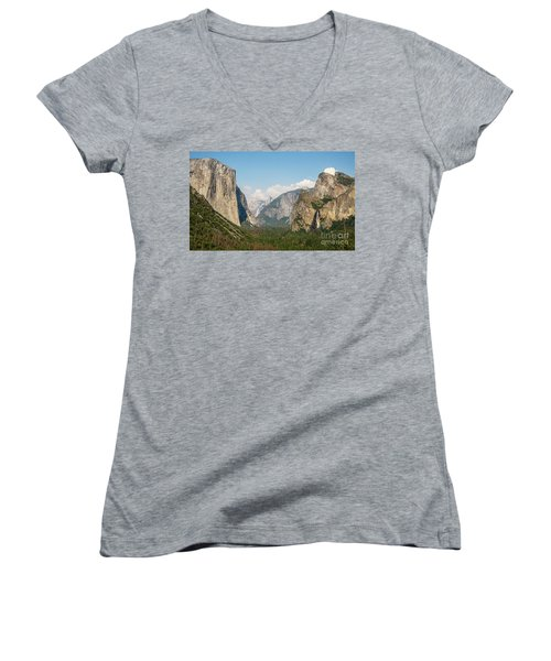 Yosemite Tunnel View With Bridalveil Rainbow By Michael Tidwell Women's V-Neck