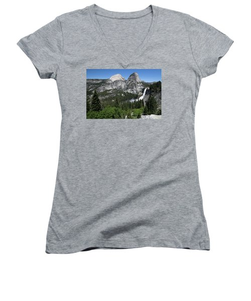 Yosemite View 30 Women's V-Neck T-Shirt (Junior Cut) by Ryan Weddle