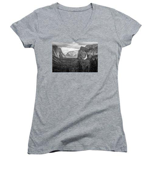Yosemite View 38 Women's V-Neck T-Shirt (Junior Cut) by Ryan Weddle
