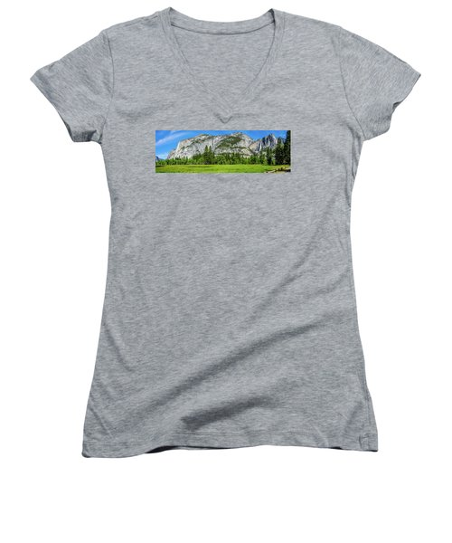 Yosemite West Valley Meadow Panorama #2 Women's V-Neck (Athletic Fit)