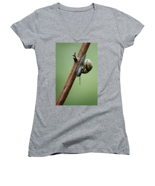 Women's V-Neck T-Shirt (Junior Cut) featuring the photograph You Move Too Fast by Cathie Douglas