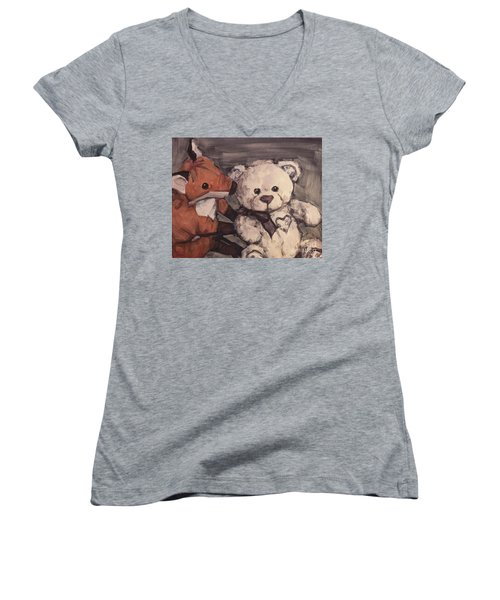 Women's V-Neck T-Shirt (Junior Cut) featuring the painting You Should Not Trust Her by Olimpia - Hinamatsuri Barbu