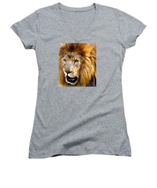 You Talkin To Me Women's V-Neck T-Shirt (Junior Cut) by Christy Ricafrente