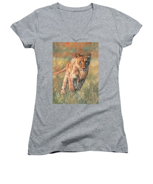 Women's V-Neck T-Shirt (Junior Cut) featuring the painting Youn Lion by David Stribbling