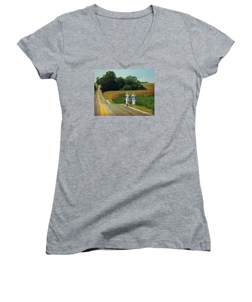 Young Amish Woman Barefoot Stroll Women's V-Neck T-Shirt